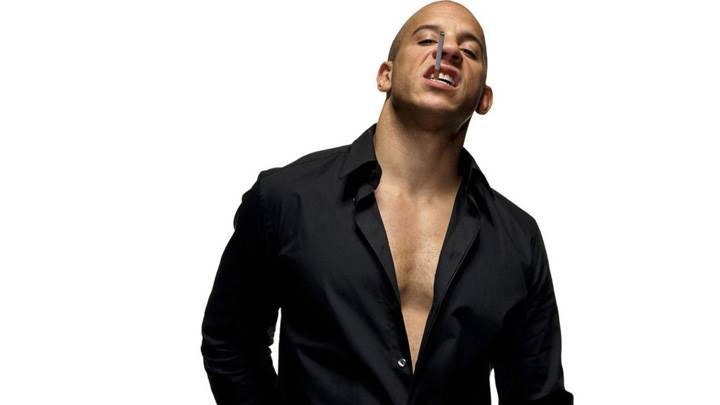 Vin Diesel Cigarette In Mouth In Black Shirt Photoshoot